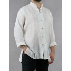 White linen shirt with a stand-up collar