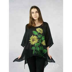 Black linen blouse, hand-painted with sunflowers