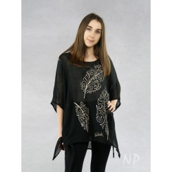 Hand-painted black linen blouse with elongated sides