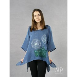 Blue linen blouse with elongated sides, decorated with hand-painted dandelions