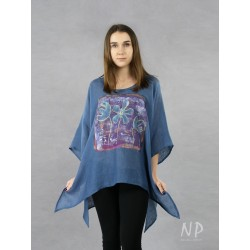 Blue linen blouse with elongated sides, decorated with hand-painted fancy flowers