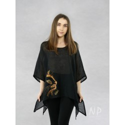 Black linen blouse with elongated sides, decorated with a hand-painted golden cat