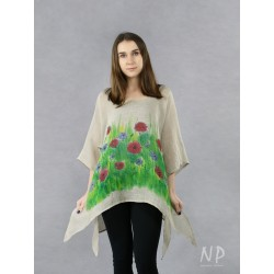 Linen blouse with elongated sides, decorated with hand-painted poppies and cornflowers