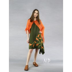 Asymmetrical dress with tied shoulder straps in olive color, decorated with hand-sewn flowers