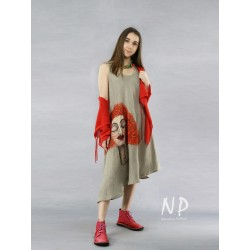 Asymmetrical linen dress with an elongated side, decorated with a hand-painted face
