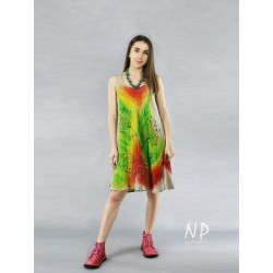 Short linen dress with straps, decorated with hand-painted flowers in contrasting colors