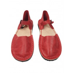 Red flat women's sandals, hand-sewn from natural leather