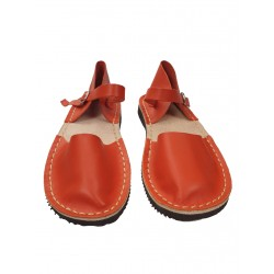 Orange flat women's sandals, hand-sewn from natural leather