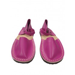 Women's amaranth flat sandals, hand-sewn from natural leather