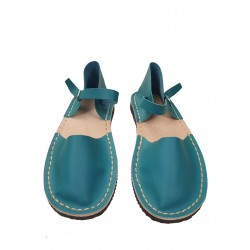 Women's turquoise flat sandals, hand-sewn from natural leather