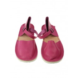 Women's dark pink flat sandals, made of natural leather