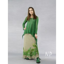 Long linen skirt, sewn from the bias, decorated with colorful knitted fabrics
