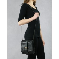Hand-sewn black leather small trunk with a shoulder strap