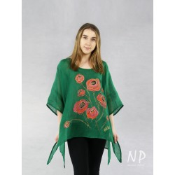 Linen blouse with elongated sides, decorated with hand-painted poppies