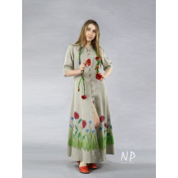 Long linen dress, decorated with hand-painted flowers.