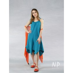 Short, loose turquoise dress with straps with elongated corners made of linen