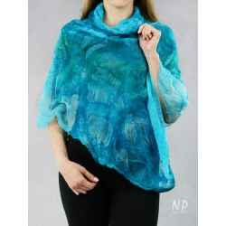 Hand-felted silk cape in the form of a poncho, perfect for a dress or a coat