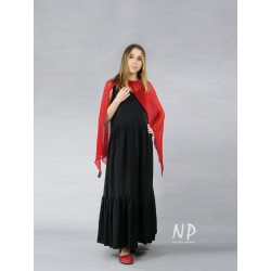 Black linen Boho maxi dress with straps, with a sewn-on frill