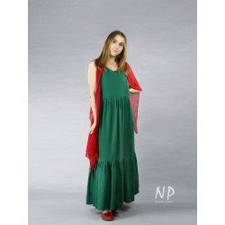 Green linen Boho maxi dress with straps, with a sewn-on frill