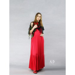 Boho red long dress, made of viscose and silk by NP