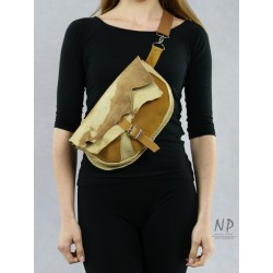 Large beige women's sachet made by hand from natural leather
