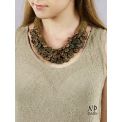 Gold-tone handmade necklace made of linen threads and ceramic ornaments