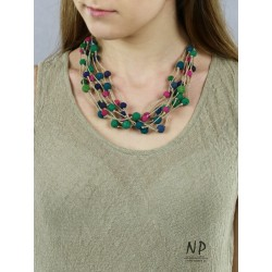 Linen thread necklace decorated with lava beads