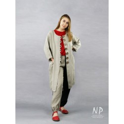 Loose coat without a collar made of natural linen