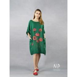 Hand-painted, green linen oversize dress
