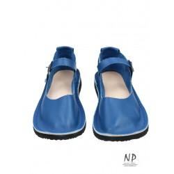 Blue flat leather sandals, hand-sewn in the Polish studio Trek