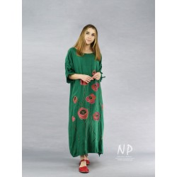 Long green oversize dress, made of natural linen, decorated with hand-painted poppies