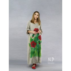 Long, natural oversize dress, made of linen, decorated with hand-painted poppies