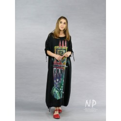 Long black oversize dress, made of natural linen, decorated with hand-painted patterns