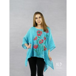 Turquoise and blue linen blouse with elongated sides, decorated with hand-painted poppies