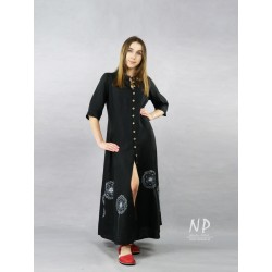 Long black shirt dress fastened with coconut buttons, decorated with hand-painted dandelions