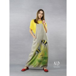 Long linen gardener dress, decorated with hand-painted bees