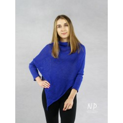 Blue poncho blouse with sleeves made of hand-made linen knit NP