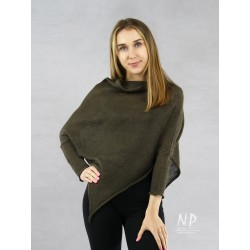 Brown poncho blouse with sleeves made of hand-made linen knit NP