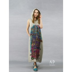 Long linen dress with NP hood, decorated with hand-painted abstraction
