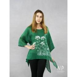 Green linen blouse