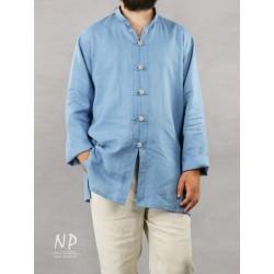 Blue linen shirt with a stand-up collar