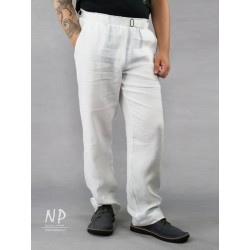Men's white linen trousers with an elasticated belt