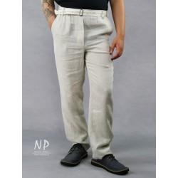 Men's linen trousers with an elasticated belt