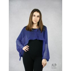 Women's navy blue multifunctional linen scarf made of hand-knitted fabric