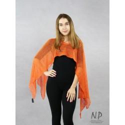 Orange women's multifunctional linen scarf made of handmade knitted fabric