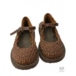 One-strap brown full-length sandals