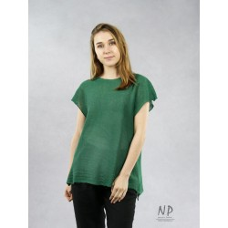 Green, loose-fitting linen blouse with short sleeves