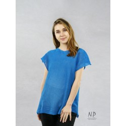 Blue, loose-fitting, short-sleeved linen blouse decorated with hemstitch