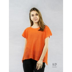 Loose, orange, short-sleeved, sweater blouse, decorated with hemstitch