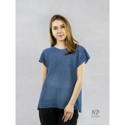 Loose, dark blue, short-sleeved, sweater blouse, decorated with hemstitch
